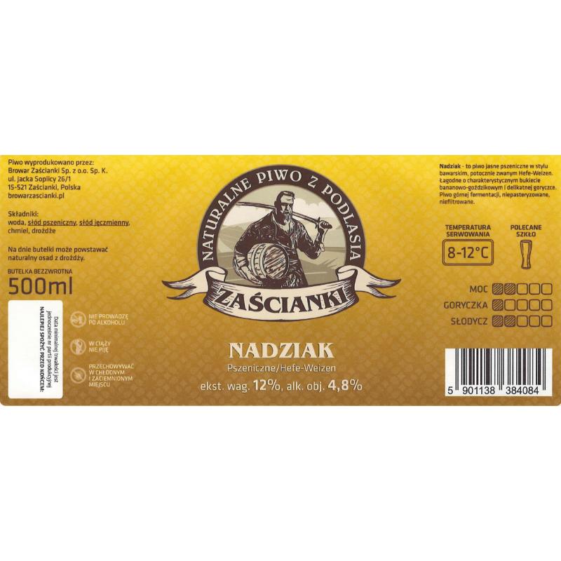 Etykieta Nadziak but. 0,5L